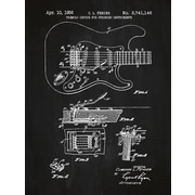 Inked and Screened Fender Stratocaster Guitar Blueprint Graphic Art Poster in Chalkboard/White Ink
