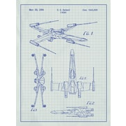 Inked and Screened Star Wars X-Wing 2 Blueprint Graphic Art Poster in White Grid/Blue Ink