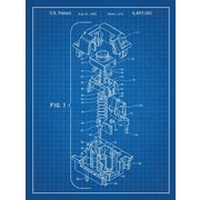 Inked and Screened Cherry Key Cap Blueprint Graphic Art Poster in Blue Grid/White Ink