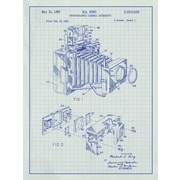 Inked and Screened Photographic Camera Blueprint Graphic Art Poster in White Grid/Blue Ink