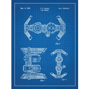 Inked and Screened Star Wars Tie Bomber Blueprint Graphic Art Poster in Blue Grid/White Ink