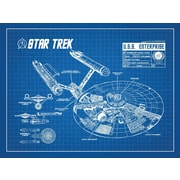 Inked and Screened Star Trek Blueprint Graphic Art Poster in Blue Grid/White Ink