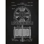 Inked and Screened Tesla Electro Magnetic Motor Blueprint Graphic Art Poster in Chalkboard/White Ink