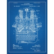Inked and Screened Type Writing Machine Blueprint Graphic Art Poster in Blue Grid/White Ink