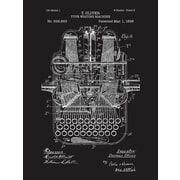 Inked and Screened Type Writing Machine Blueprint Graphic Art Poster in Chalkboard/White Ink