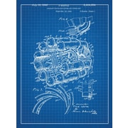 Inked and Screened Airplane Engine Blueprint Graphic Art Poster in Blue Grid/White Ink