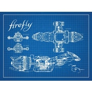 Inked and Screened Firefly Serenity Blueprint Graphic Art Poster in Blue Grid/White Ink