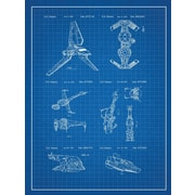 Inked and Screened Star Wars Ships Blueprint Graphic Art Poster in Blue Grid/White Ink