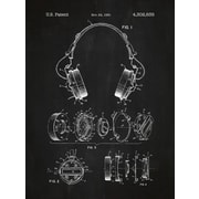 Inked and Screened Headphones Blueprint Graphic Art