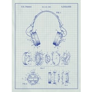 Inked and Screened Headphones Blueprint Graphic Art Poster in White Grid - Blue Grid