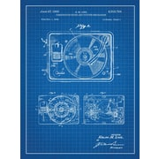 Inked and Screened Turntable Record Player Blueprint Graphic Art Poster in Blue Grid/White Ink