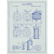 Inked and Screened Process of Making Beer Blueprint Graphic Art Poster in White Grid/Blue Ink