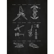 Inked and Screened Star Wars Ships Bluprint Graphic Art Poster in Chalkboard/White Ink
