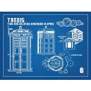 Inked and Screened Doctor Who Tardis Blueprint Graphic Art Poster in Blue Grid/White Ink