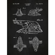 Inked and Screened Star Wars Slave-I Blueprint Graphic Art Poster in Chalkboard/White Ink