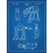 Inked and Screened Star Wars AT-AT Blueprint Graphic Art Poster in Blue Grid/White Ink