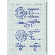Inked and Screened Star Trek Enterprise Blueprint Graphic Art Poster in White Grid/Blue Ink
