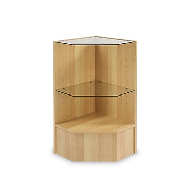 Can-Bramar Econoline Pentagon Corner Case with Two Glass Shelves, Maple