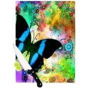 KESS InHouse Colorful Blue by alyZen Moonshadow Butterfly Cutting Board; 0.5'' H x 11'' W x 7.5'' D