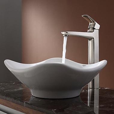 Kraus Virtus Tulip Ceramic Bathroom Sink w/ Faucet; Brushed Nickel