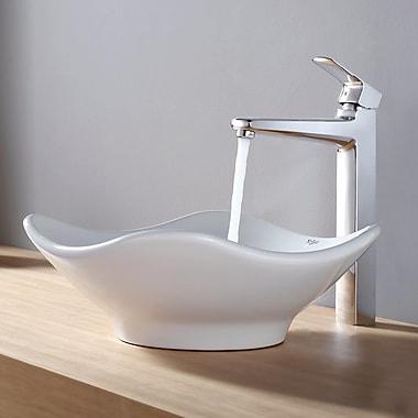 Kraus Virtus Tulip Ceramic Bathroom Sink w/ Faucet; Chrome