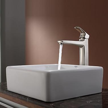 Kraus Virtus Square Ceramic Bathroom Sink w/ Faucet; Brushed Nickel