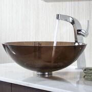 Kraus Glass Vessel Bathroom Sink w/ Single Handle Typhon Single Hole Faucet; Clear Brown