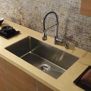 Vigo 32 inch Undermount Single Bowl 16 Gauge Stainless Steel Kitchen Sink; No