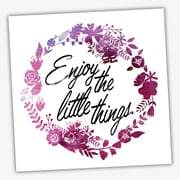 Picture it on Canvas Wreath Quotes 'Enjoy Little Things' Textual Art on Wrapped Canvas