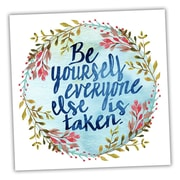 Picture it on Canvas Wreath Quotes 'Be Yourself' Textual Art on Wrapped Canvas