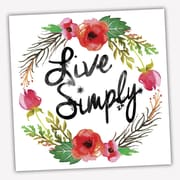 Picture it on Canvas Wreath Quotes 'Live Simply' Textual Art on Wrapped Canvas