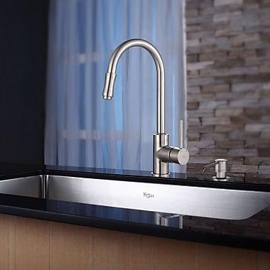 Kraus 32'' x 19'' Undermount Single Bowl Kitchen Sink w/ Faucet and Soap Dispenser; Satin Nickel
