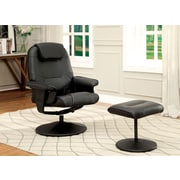 Hokku Designs Klaus Wingback Chair & Ottoman; Black