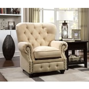 Hokku Designs Cedric Tufted Arm Chair; Ivory