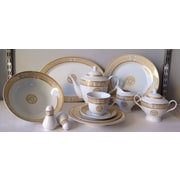 Imperial Gift Co. Greek Key 49 Piece Dinnerware Set; White