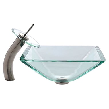 Kraus Glass Combinations Aquamarine Square Vessel Bathroom Sink and Waterfall Faucet; Satin Nickel