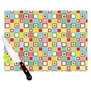 KESS InHouse Colorful Check Cutting Board; 15.75'' W x 11.5'' D