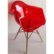 Bienal Paris Tower Arm Chair (Set of 5); Transparent Red