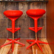 Bienal Spoon Adjustable Height Bar Stool (Set of 2); Red