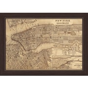 Click Wall Art Map Of New York And Brooklyn Framed Graphic Art; 23'' H x 33'' W x 1'' D