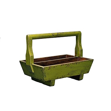 Antique Revival Half-Sized Double Tray with Wooden Handle; Green