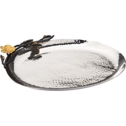 ClassicTouch Tervy Hammered Stainless Steel 9'' Oval Platter