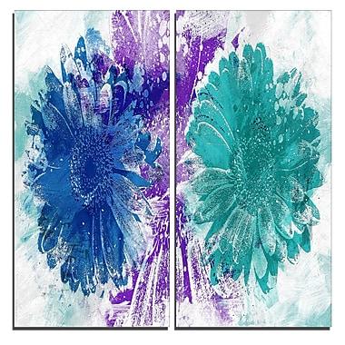 Designart Blue and Green Sunflowers Canvas Art Print, 40