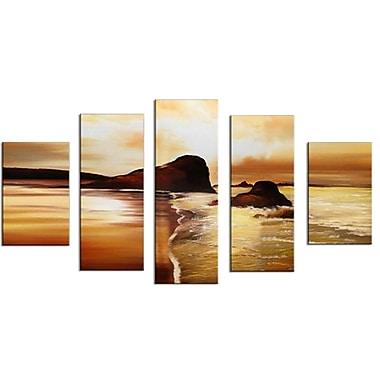Designart – Tableau sur toile moderne, Coucher de soleil sur la plage, (OL1358)