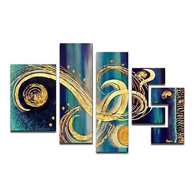 Designart – Tableau sur toile peint à la main, Tourbillons abstraits, bleu, 5 pièces, (OL474)
