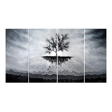 Designart – Tableau sur toile, Arbre à racines profondes, noir et blanc, 4 pièces, (OL1165)