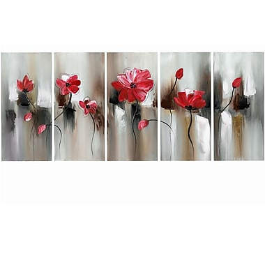Design Art Modern Flower Large, 5 Piece Gallery-wrapped Canvas, (PT1104-5P-RED)