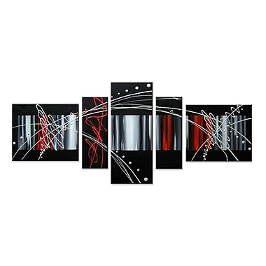 Designart Unknown 5 Piece Abstract, Black Red Silver Hand-Painted Oil on Canvas Art Set, (OL311)