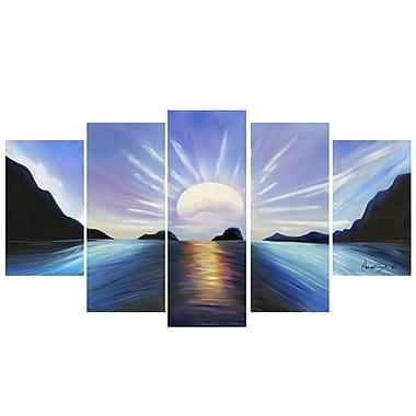 Designart – Imprimé sur toile avec contour, Coucher de soleil brillant, 5 pièces, (PT119-BLUE)