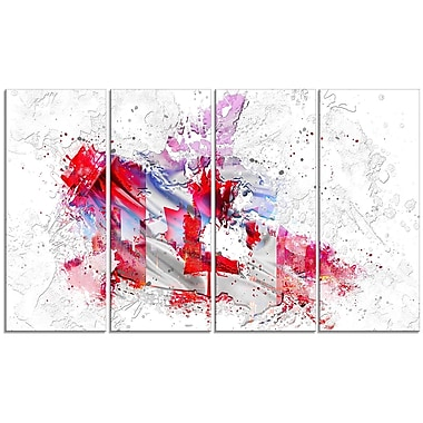 Designart Canadian City and Flag on the Map 4-Panel Canvas Art Print, (PT2746-271)